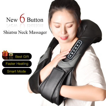 Electric Neck Roller Massager for Back Pain Shiatsu Infrared lamp Massage Pillow  Gua Sha Products Body Health Care Relaxation 1