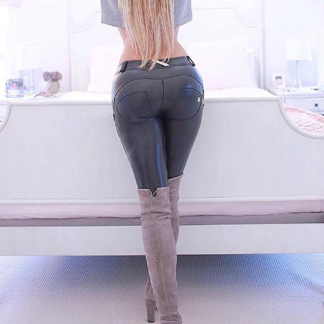 Mujer de Alta Elásticos Bajo La Cintura Los Pantalones Apretados de La Pu Pantalones De Cuero Conformación de La Cadera Sexy Freddy Pantalones Lápiz Empuja Hacia Arriba Los Pantalones de Fitness