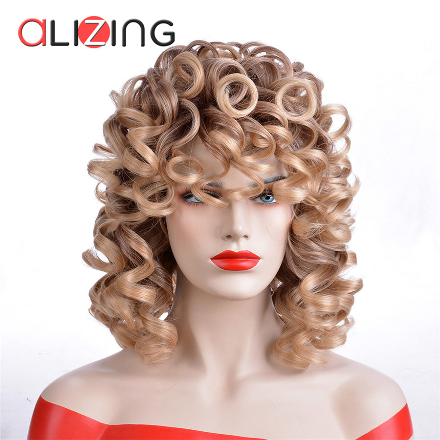 Alizing Sintética Peruca Fibra de Alta Temperatura Grande Onda Onda Solta Cabelo Dourado Primavera Onda Estilo de Cabelo Peruca para a Mulher Preta peruca 8050