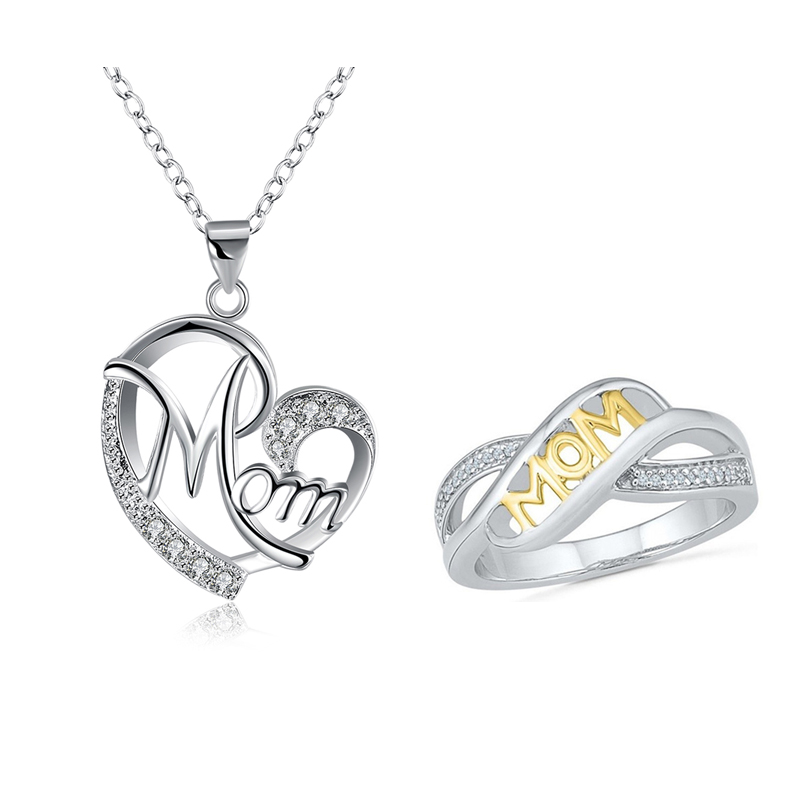 Love Mom Great Heart Pendant Necklace+Ring