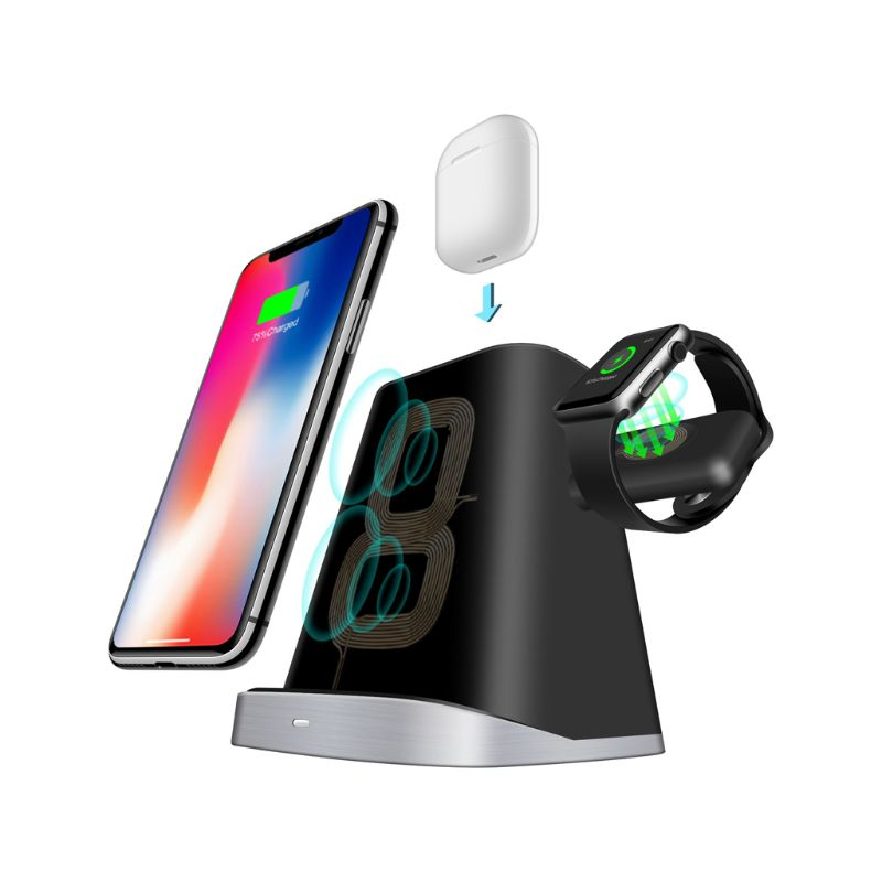Double Coils Qi Wireless Fast Charger Charging  Dock for iPhone 8/X/AirPods / Apple iWatch Series Desktop Accessories