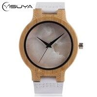 Yisuya Повседневное наручные часы природа деревянный леди Для мужчин Повседневные часы белый Пояса из натуральной кожи ремешок часы Мода Спор...