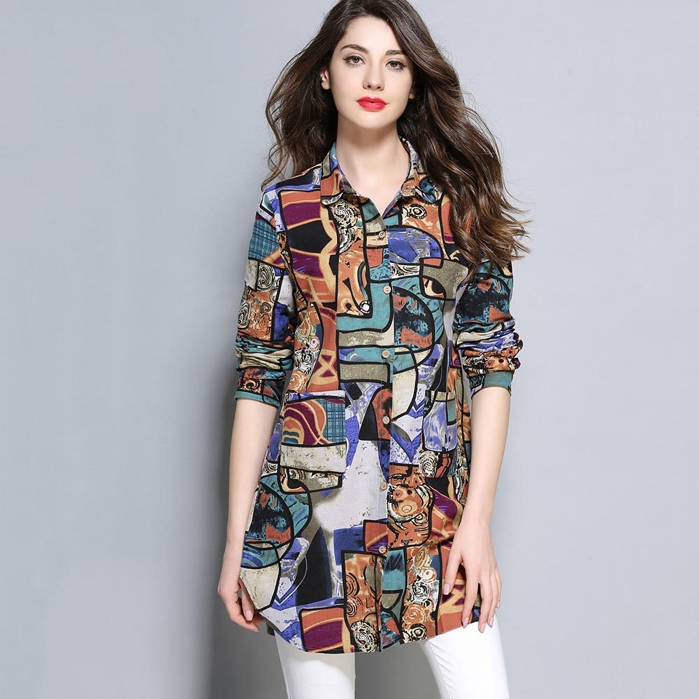 womens tops and blouses long Sleeve Spring flower print chiffon blouse femme O Neck plus size 2XL casual blouses shirt women