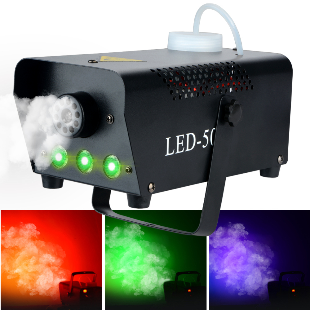 500W Fog Machine With Wireless Remote Control LED Light Wedding Parties Stage Performance KTV Bar Party Colorful Smoke Machine