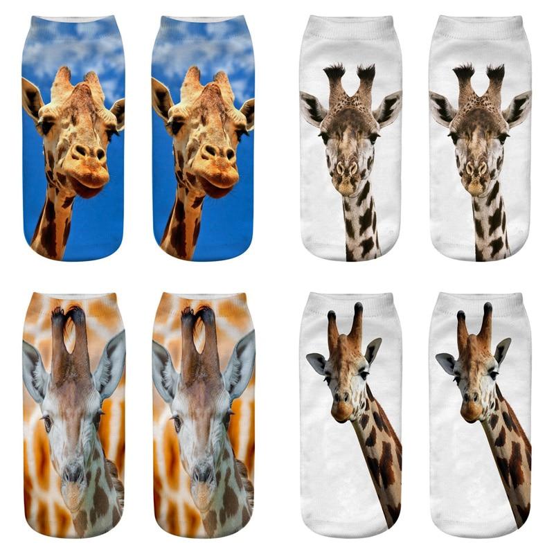 Dreamlikelin Funny Animal Woman   Socks   8 Styles Cute 3D Giraffe Kawaii Ankle   Socks   For Women Children Unisex Sox