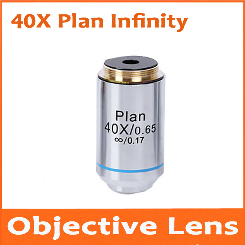1pc 40X 195 Metal Infinity Plan Achromatic Objective Lens Educational Olympus Biomicroscope Biological Microscope 20.2mm 195 universal 1x infinity objective lens for biological microscope