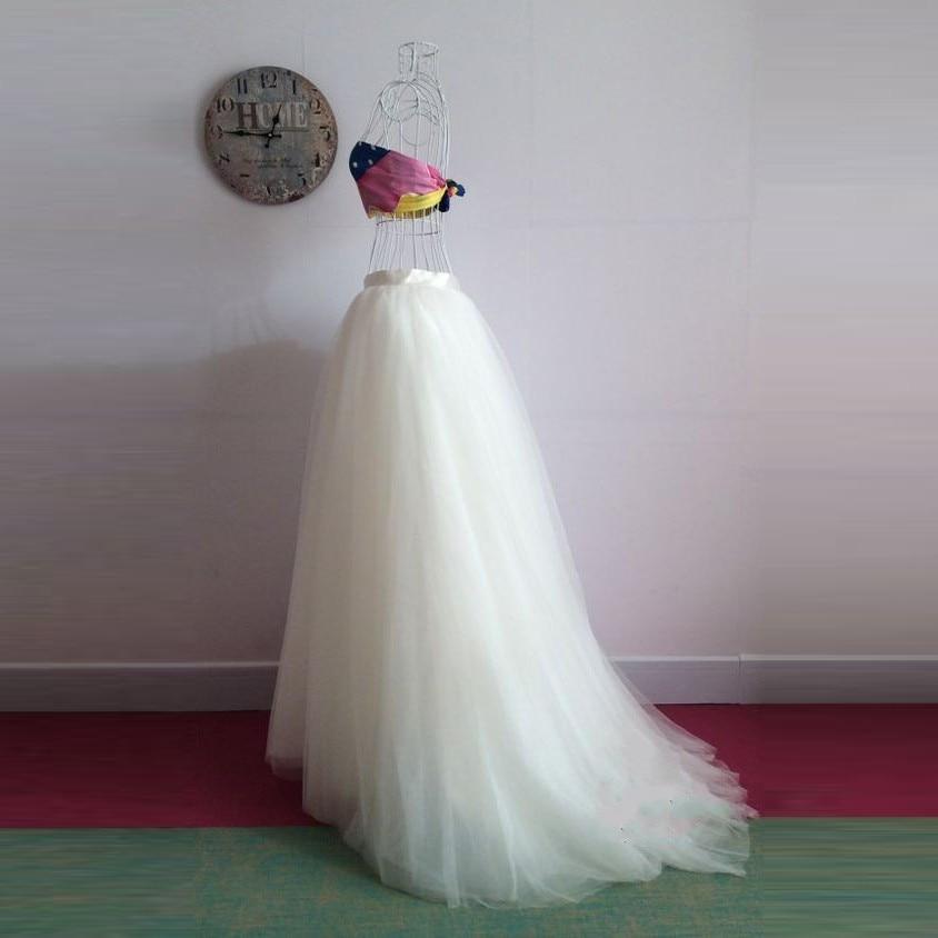 5 Layers Maxi Long Skirt Soft Tulle Skirts Wedding Bridesmaid Tutu Skirt Sweep Train Zipper Waist Customized Elegant Saia Longa