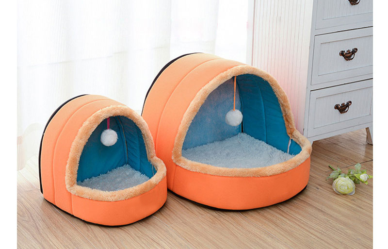 5 Colors Pet Dog Cat Bed Foldable Puppy House With Toy Ball Warm Soft Pet Cushion Dog Kennel Cat Castle (3)