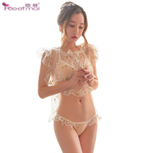 Floral Transparent Sexy Lingerie Women Porno Underwear Erotic For Sex Ruffles Embroidery Cute