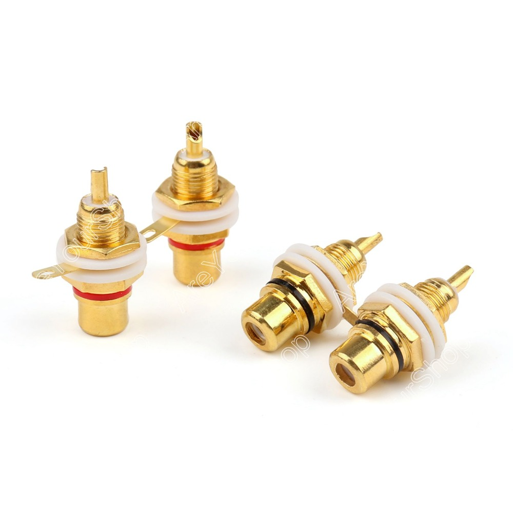 12 Pcs Gold Plated RCA Female Jack Panel Mount Chassis Socket Red Black gold plated socket pixhawk px4 247