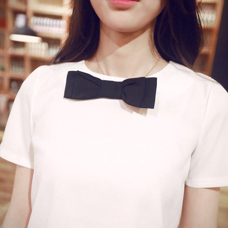 713016bc87975 جديد الأزياء 2019 الصيف القوس بلوزة النساء الشيفون البلوزات قمصان يا الرقبة  قصيرة الأكمام الصلبة عارضة السيدات قمم Blusas