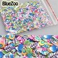 BlueZoo 1000 unids Pavo Real 3D Pluma Fimo Nail Art Consejos Arcilla del Polímero Rebanadas Nail Stickers Decoración