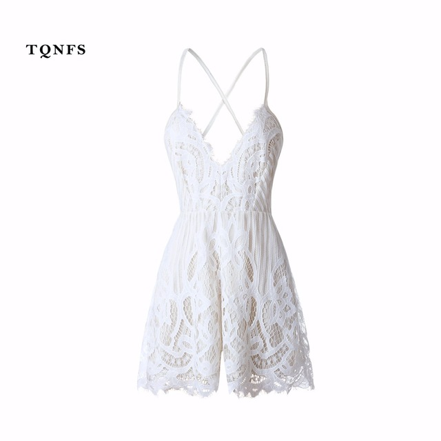 the latest b7ac7 786e0 TQNFS Deep Vneck Strap White Lace Elegant Jumpsuit Romper Sexy Backless  Chiffon Summer Playsuit Women Boho Floral Short Overalls-in Rompers from ...