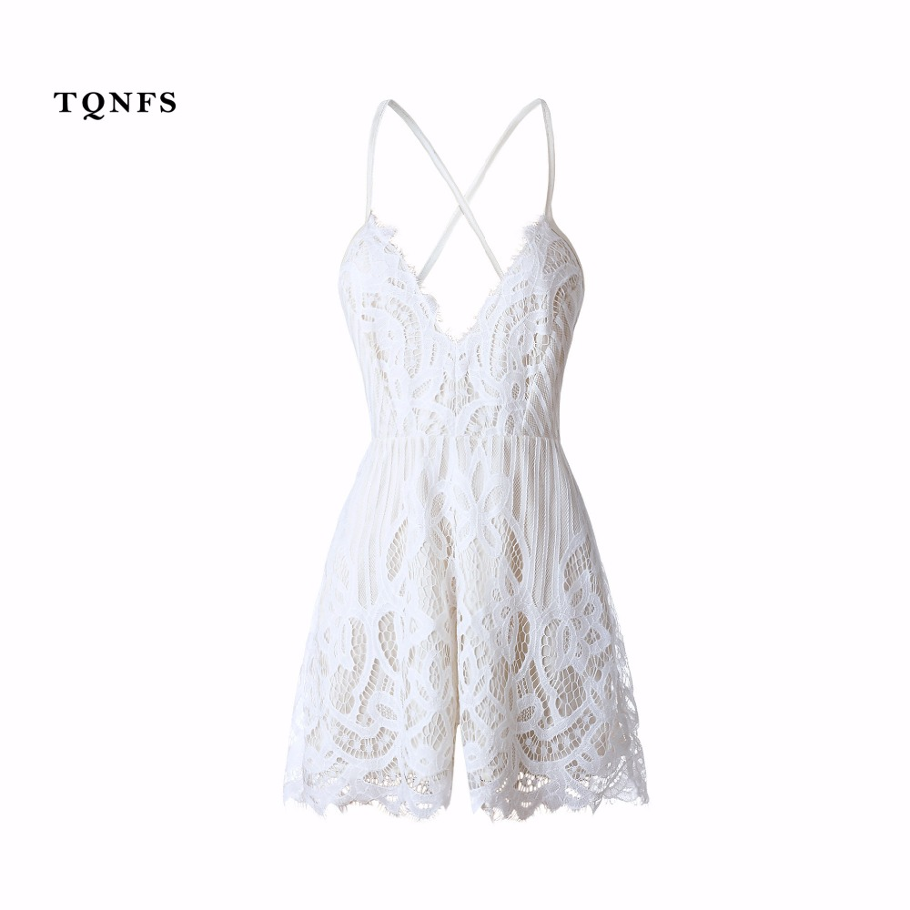 TQNFS Deep Vneck Strap White Lace Elegant Jumpsuit Romper Sexy Backless Chiffon Summer P ...