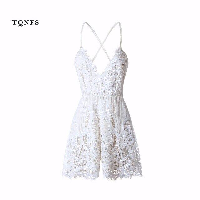 TQNFS Tief Vneck Strap Weiß Spitze Elegante Jumpsuit Sexy Backless ...
