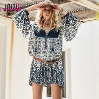 Jastie Vintage Inspired Boho Dress Floral Print Indigo Dress Bohemian Hippie Beach Mini Dress 2018Women Dresses