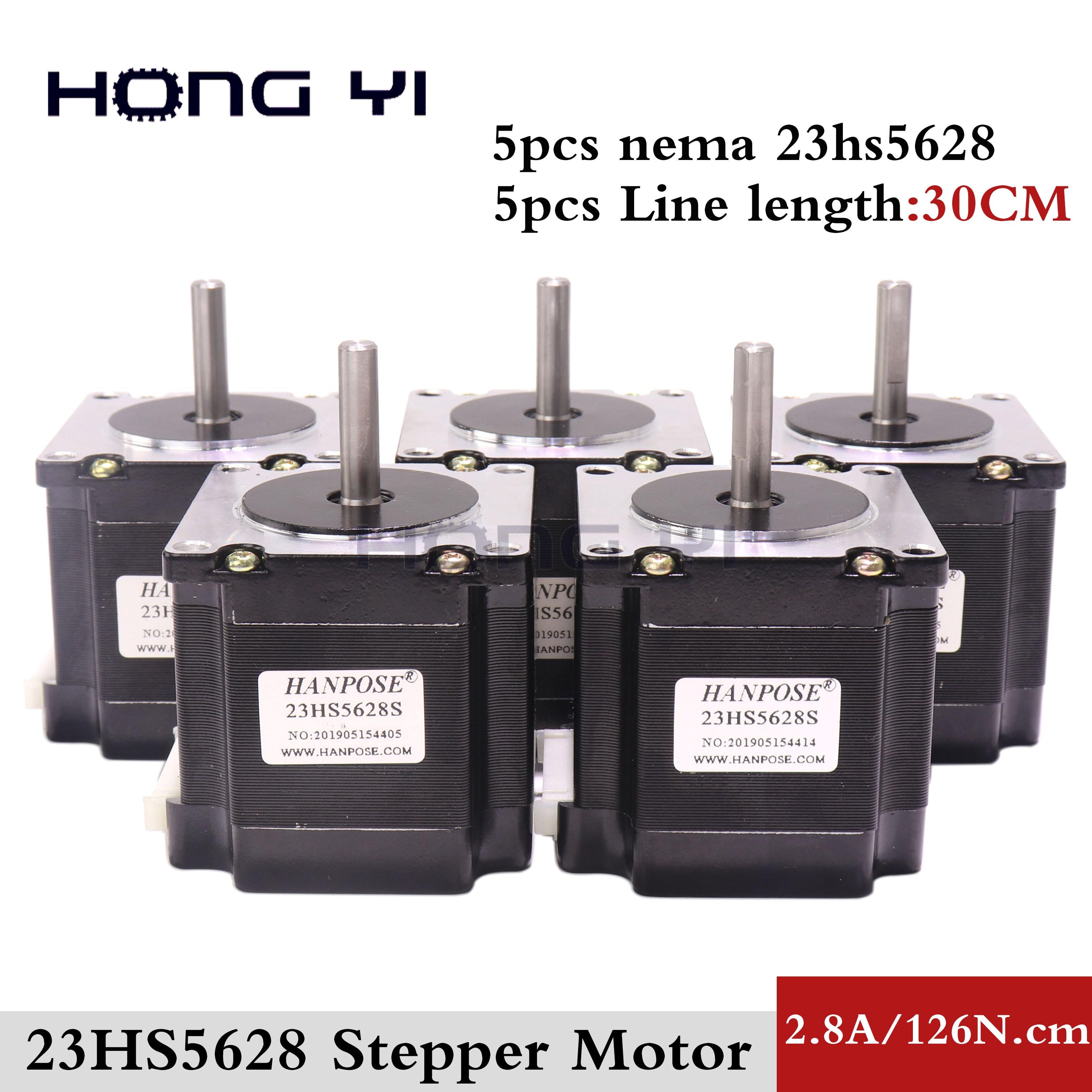 Envío Gratis 5 uds 23HS5628 4-plomo Nema 23 Motor de pasos 57 motor NEMA23 Motor paso a paso 2.8A ISO CNC