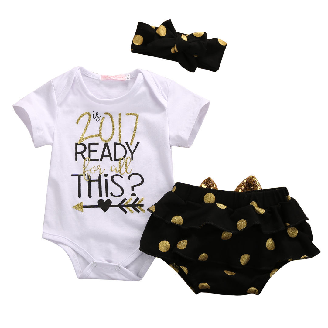 2017 Newest Fashion Newborn Baby Girls Sets Summer Hot Ready For 2017 Sleeveless Tops Bodysuit+Briefs Bottom 3pcs Outfits Cute 1