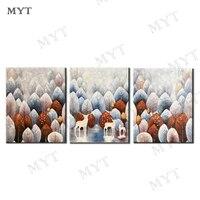 3 Panel Original Design Elk Forest Oil Painting On Canvas No Framed Room Panels For Home Modern Decoration Art Picture No Framed