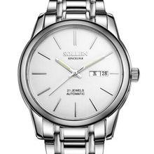 SOLLEN Часы для Мужчин Кварцевые Наручные Часы полые тонкие водонепроницаемые часы мода простой серебряный SL9001E Бизнес