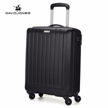 DAVIDJONES 20 inches hardside carry-on luggage vintage print trolly suitcase