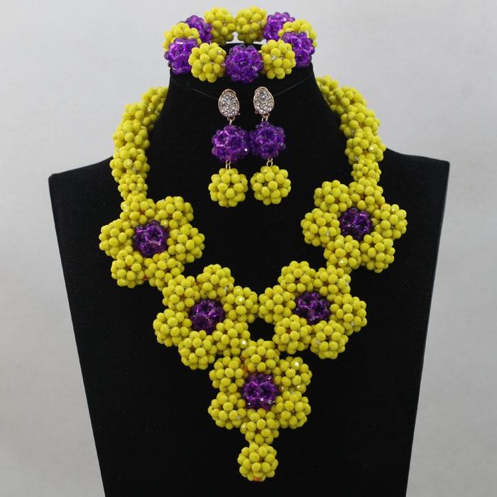 Luxury  Purple&Yellow  African Beads Jewelry Set  Wholesale Costume Jewelry Set   Handmade Free Shipping hx275Luxury  Purple&Yellow  African Beads Jewelry Set  Wholesale Costume Jewelry Set   Handmade Free Shipping hx275