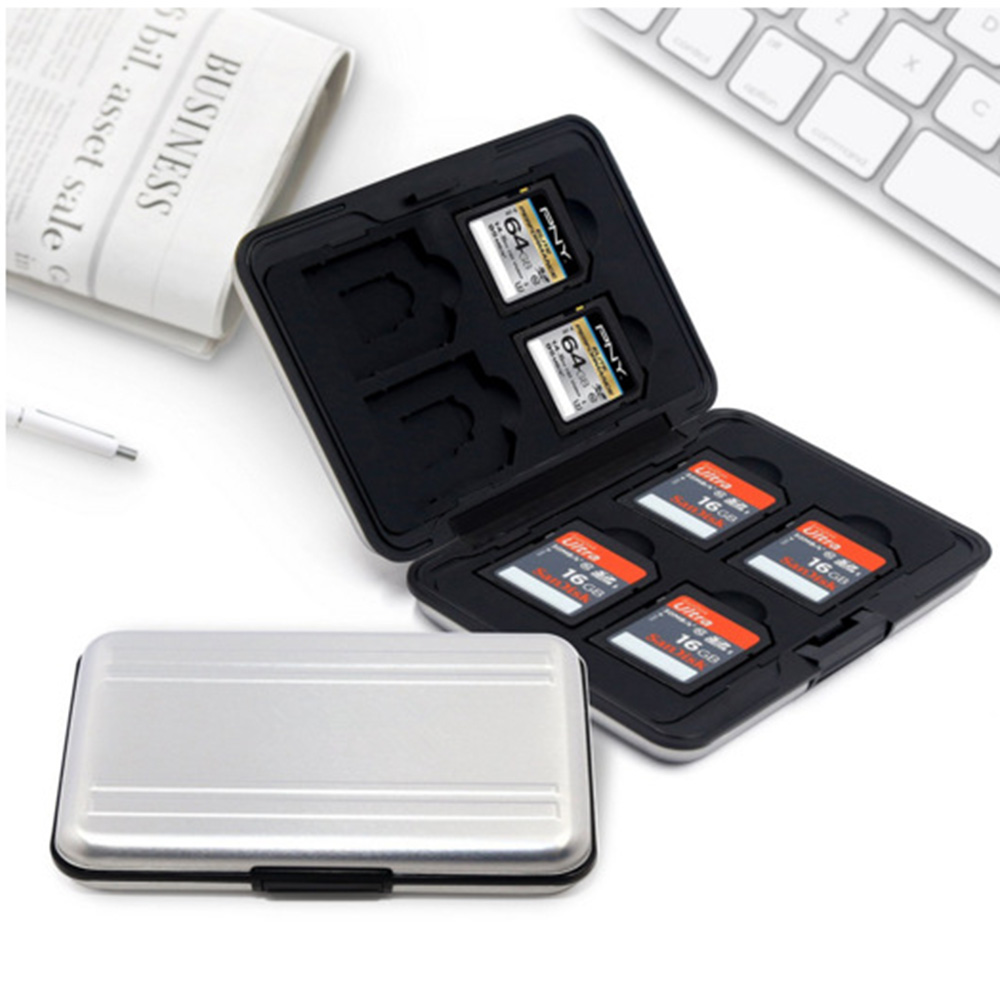 Portable Silver Aluminum Memory Card Case 16 Slots (8+8) For Micro SD SD/ SDHC/ SDXC Card Storage Holder New Card Case