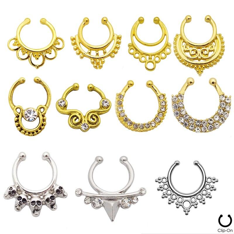 Indian Pattern Models Gold Fake Nose Piercing Ring,Fake Septum ...