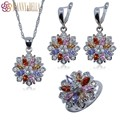925 Sterling Silver Jewelry Set For Women Flower With Rainbow Created Topaz Earrings/Pendant/Necklace Chain/Ring TZ114