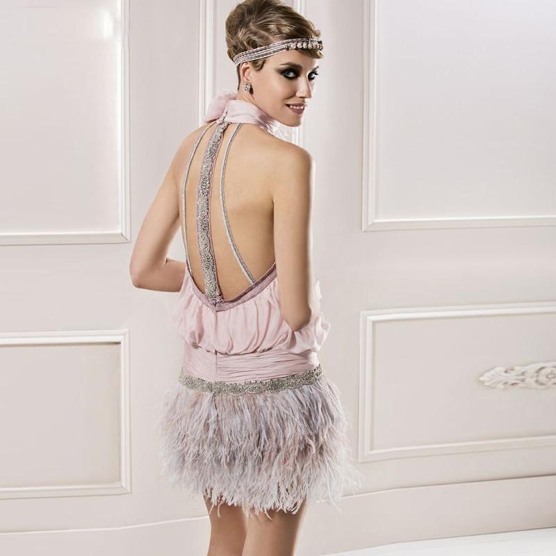 sexy-Back-Sassy-Pink-Chiffon-Cocktail-Dress-Mini-Sheath-Beading-Feather-Appliques-Halter-Sleeveless-Open-Back