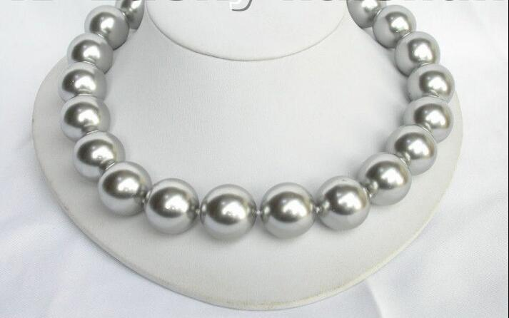 Wholesale price 16new ^^^^18 20mm 100% round gray south sea shell pearl necklaceWholesale price 16new ^^^^18 20mm 100% round gray south sea shell pearl necklace