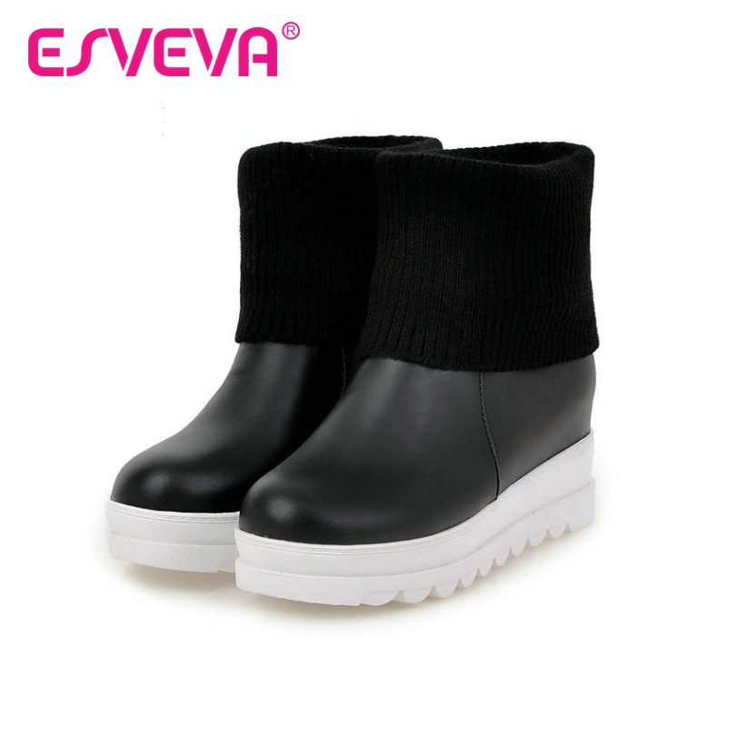 ФОТО ESVEVA 2016 Winter Warm Women Shoes Platfrom Slip on Wedge Low Heel Ankle Boots Soft Leather Women Fashion Boots Big Size 34-43