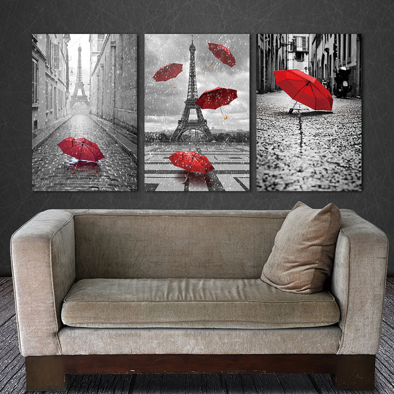 Picture BANMU Painting Wall Art Black and White Tower with Red Unbrella Street Painting Decoration Artwork Prints Canvas