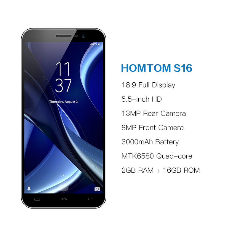 Image 2 - Original HOMTOM S16 Fingerprint Mobile Phone Android 7.0 5.5inch Screen 2G RAM 16G ROM 13MP MTK6580 Quad Core 3000mAh Smartphone-in Cellphones from Cellphones & Telecommunications