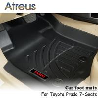 Atreus NEW 1Set TPE Car Floor Foot Mat For Toyota Prado 7 Seats Waterproof Carpet Styling Boot Liner Anti slip mat Accessories
