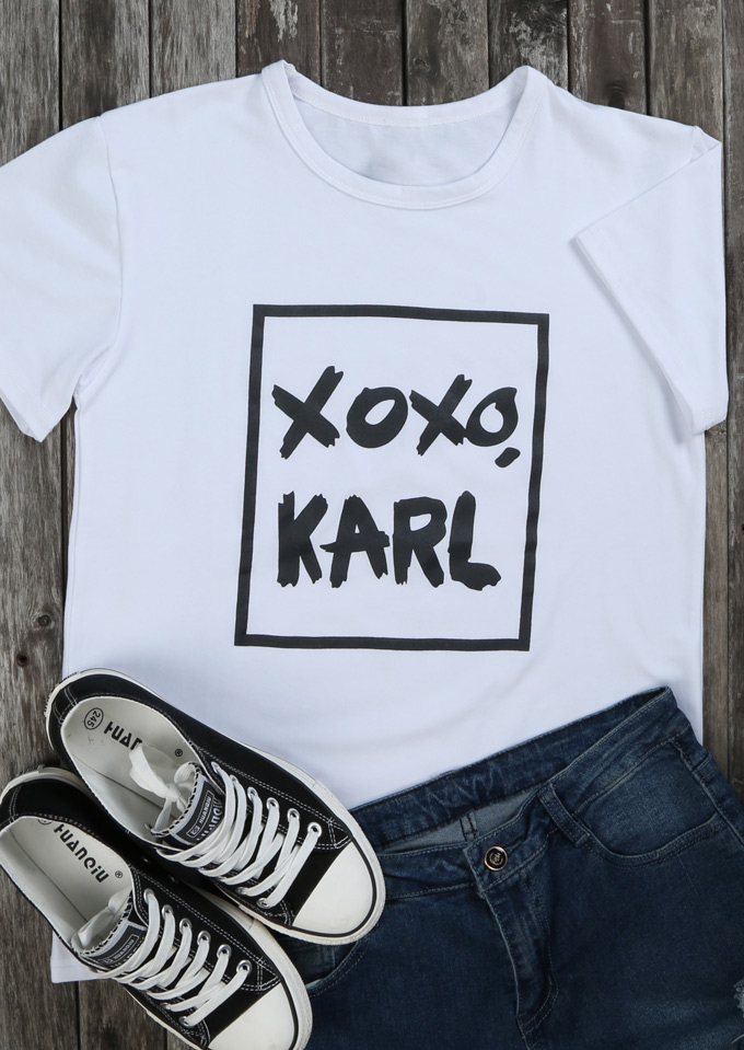 New arrival Xoxo Karl T-Shirt funny graphic cotton tees 90s women fashion tops ladise gift camiseta tumblr harajuku goth t shirt