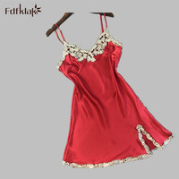 Sexy Nightgowns Summer Fashion Spaghetti Strap Plus Size Feminino Satin Nightgowns Lace Dress Lingerie Black Red