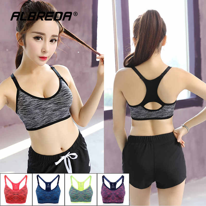 Albreda Vrouwen Yoga Beha Sportbeha Running Fitness Gym Bras Vrouwelijke Bandjes Padded Crop Top Ondergoed Atletische Segment Verven Vest