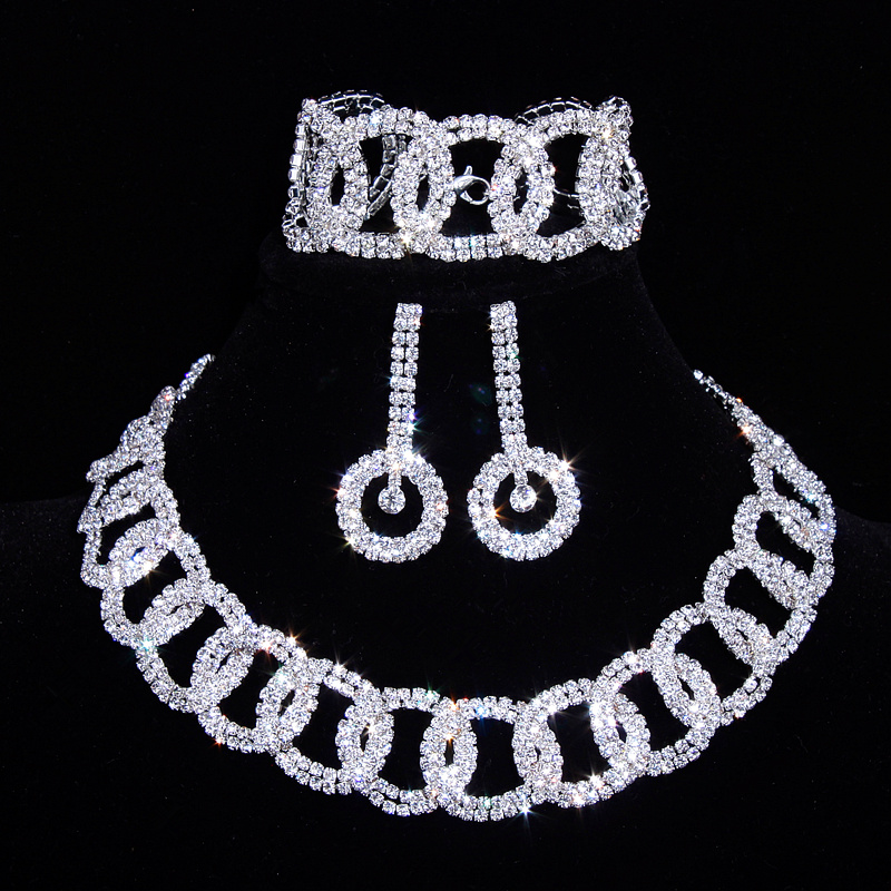 Classic Crystal Bridal Jewelry Sets Silver Color Rhinestone Necklace Wedding Engagement Jewelry Sets for Women Accessories X17 bridal jewelry sets crystal rhinestone gold color wedding necklace and earrings sets for women trendy jewelry sets accessories