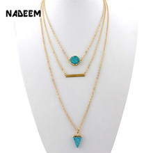 Hot Selling Druzy Agate Quartz Teardrop Faux Stone Leaf Pendant Pearl Three Layered Chain Necklace For Women RN3016 layered faux pearl body chain