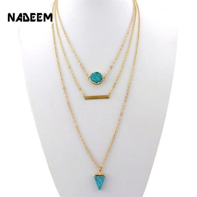 33a049473e Hot Selling Druzy Quartz Teardrop Faux Stone Leaf Pendant Imitation Pearl  Three Layered Chain Necklace For Women RN3016