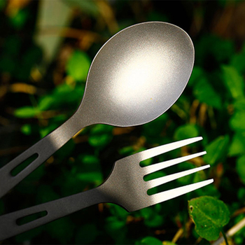 Tiartisan 3pcs Lightweight  Spoon Fork Knife Set Pure Titanium Outdoor Tableware for Camping Picnic Travelling Flatware Ta8106 2