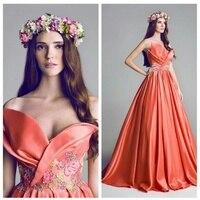 Fancy Designer Prom Dresses Off the Shoulder Sweetheart Colorful 2019 vestidos de festa gala A line Orange Prom Dress Long