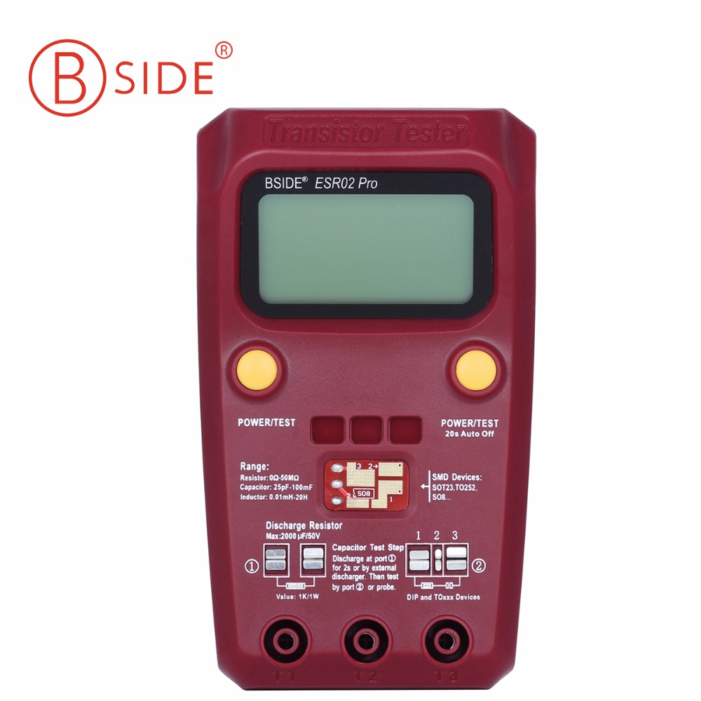 BSIDE ESR02PRO Digital transistor tester Diode Triode Capacitância ESR Indutância Resistor Multímetro Testador de Componentes PRO Medidor