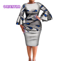 eaf74533e7 2019 African Dress For Women Africa Bazin Riche Print Elegant Flare Sleeve  Bodycon Lace Dresses Lady. 2019 africano vestido para las mujeres ...