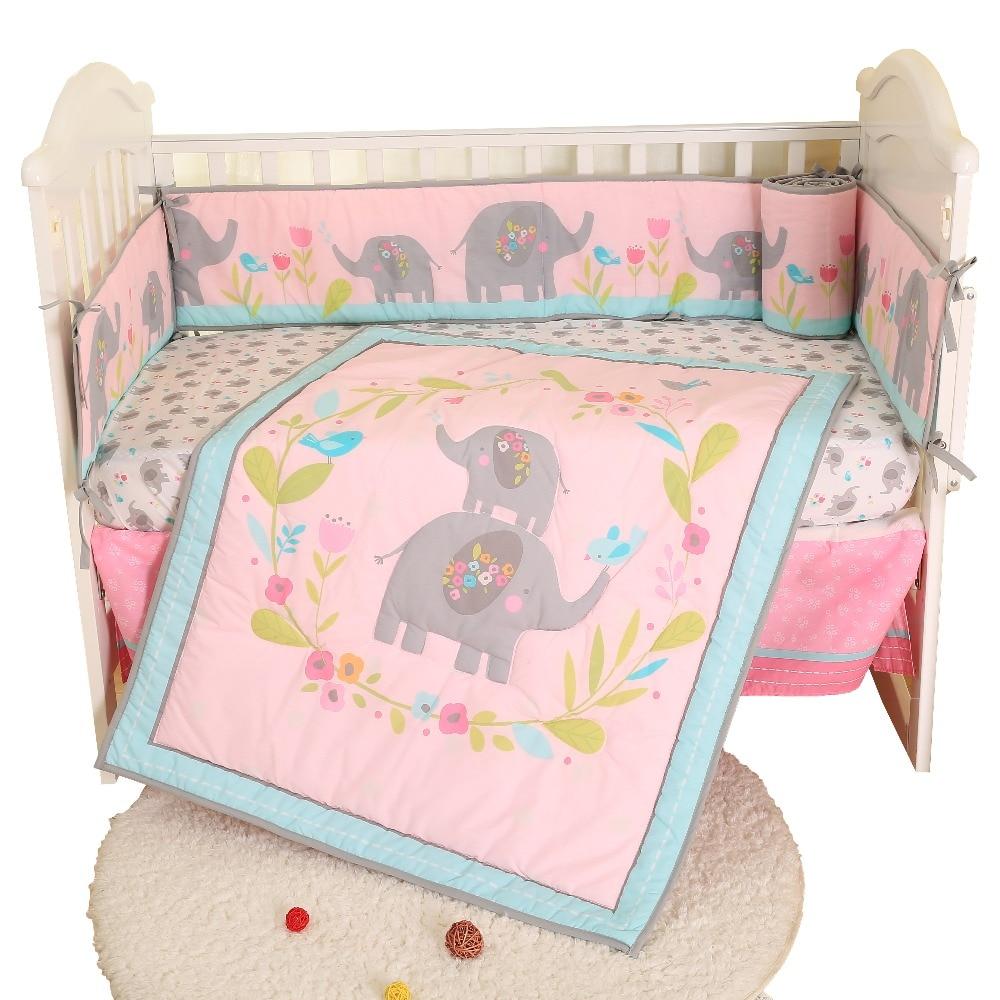 4 Pcs Baby Boys  Bedding Set Comforter Bumper Fitted Sheet Crib Skirt