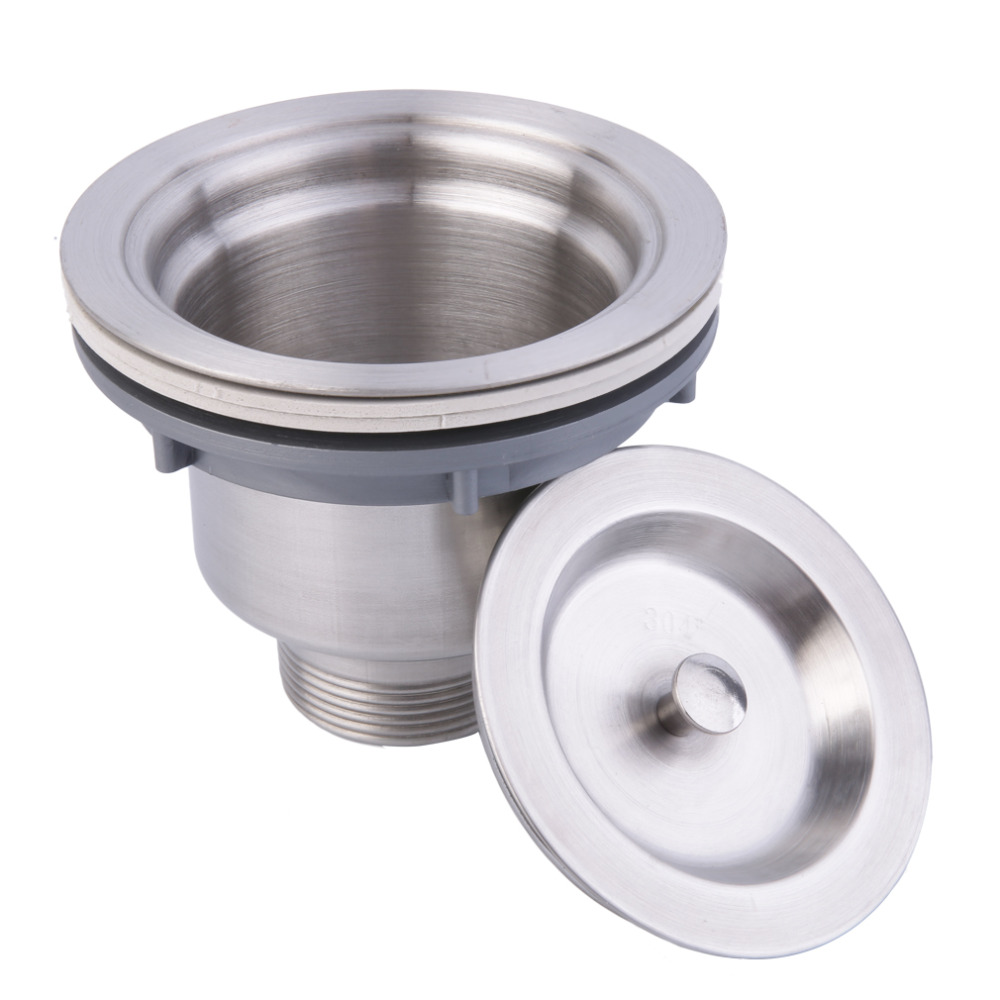 2017 stainless steel kitchen sink drain assembly waste strainer and basket top quality silver kitchen sink - Kitchen Sink Waste Fittings
