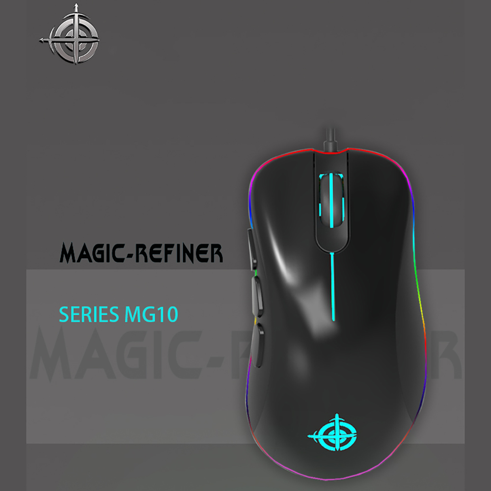 MAGIC-REFINER MG10 USB Wired Gaming Mouse 6 Buttons 5000DPI Adjust Programmable RGB Backlit Optical Mouse Gamer for PUBG LOL mannequin