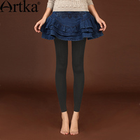Artka Women S 2016 Spring New Vintage Solid Color Slim Fit All Match Leggings Fashion Comfy