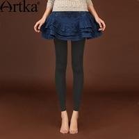 Artka Women S 2016 Spring New Vintage Solid Color Slim Fit All Match Leggings Fashion Comfy